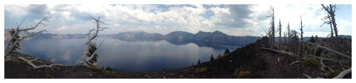 The view from the rim of the crater on Wizard Island, inside of Crater Lake.